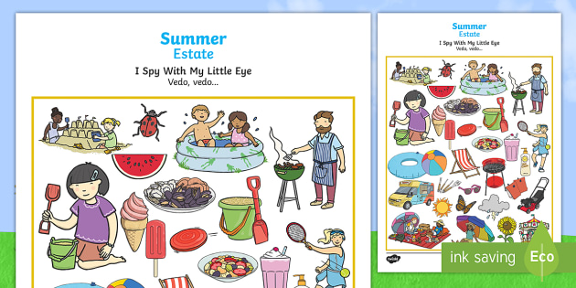 Summer-Themed I Spy With My Little Eye Activity English/Italian - games, game, summertime, wheres wally, EAL