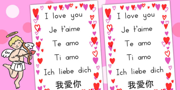 I Love You Different Languages Display Poster - love, languages