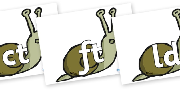 Final Letter Blends on Snails - Final Letters, final letter, letter blend, letter blends, consonant, consonants, digraph, trigraph, literacy, alphabet, letters, foundation stage literacy