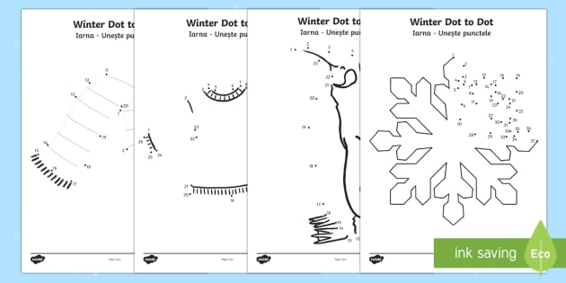 Winter Themed Dot to Dot Activity Sheets English/Romanian - Winter, worksheets, dot to dot, fine motor skills, number recognition, number ordering, Romanian tra