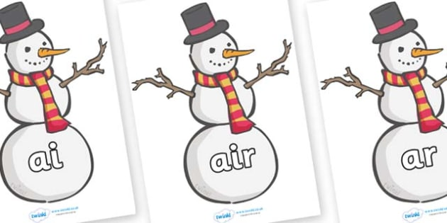 Phase 3 Phonemes on Snowmen - Phonemes, phoneme, Phase 3, Phase three, Foundation, Literacy, Letters and Sounds, DfES, display
