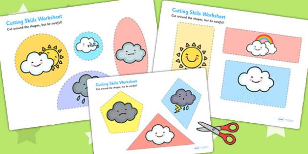 Weather Themed Cutting Skills Worksheet - fine motor skills, cut