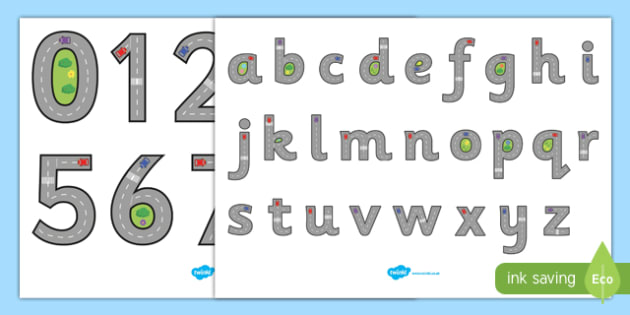 Road Themed Letter and Number Formation Display Posters - road, letter, number, formation, display, poster, overwriting