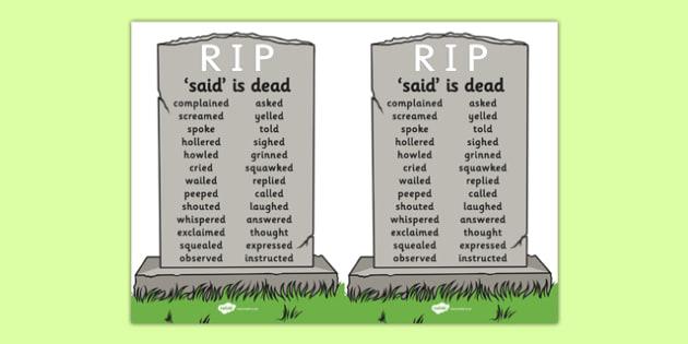 Said is Dead A5 - said is dead, alternative words for said, alternative words, display poster, word posters, alternative word poster