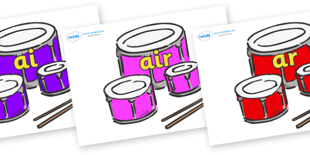 Phase 3 Phonemes on Drums - Phonemes, phoneme, Phase 3, Phase three, Foundation, Literacy, Letters and Sounds, DfES, display