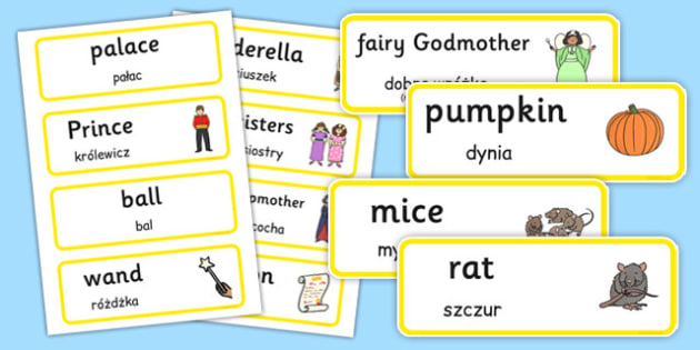 Cinderella Word Cards Polish Translation - polish, cinderella, word cards