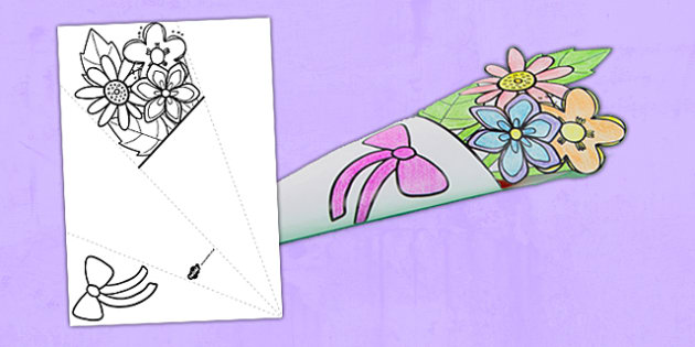 Mother's Day Paper Flower Bouquet Coloring Activity - bouquet, mothers day, paper