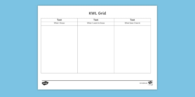 Editable Kwl Grid Editable Kwl Grid Word Know Learn Grid