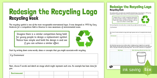 Redesign the Recycle Logo Worksheet / Activity Sheet - recycle