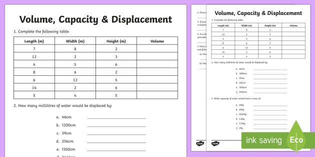 Volume Capacity Displacement Worksheet / Worksheet - F - 3 ...