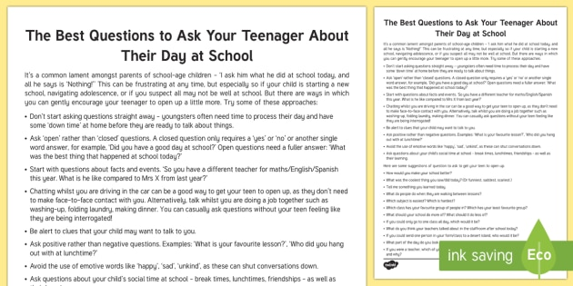 Questions to Ask Your Teenager about Their Day Parent and Carer Information Sheet - primary, child, wellbeing, questions, how was your day