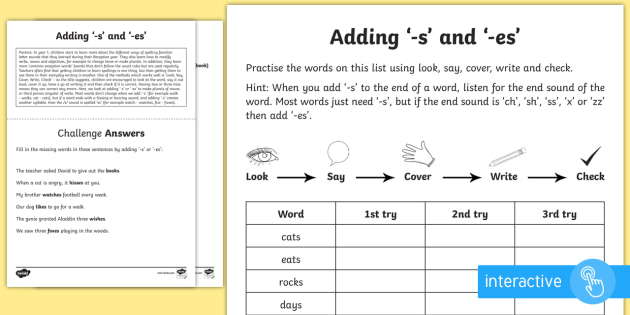 year 1 spelling practice adding suffixes 39 s 39 and 39 es 39 worksheet ks1. Black Bedroom Furniture Sets. Home Design Ideas