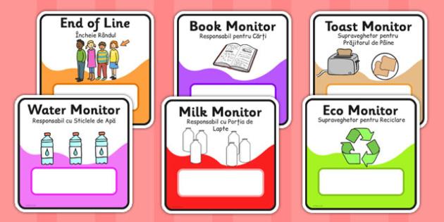 Monitor and Job Cards Romanian Translation - roles, information, responsibility, ks1, ks2, class, classroom, organisation, rota, schedule, tidy, away,