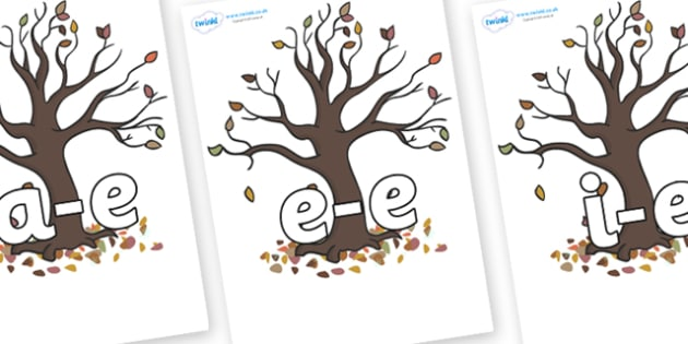 Modifying E Letters on Autumn Trees - Modifying E, letters, modify, Phase 5, Phase five, alternative spellings for phonemes, DfES letters and Sounds