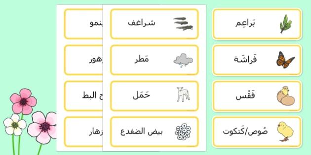 بطاقات مفردات الربيع - الربيع، الفصول، وسائل تعليمية