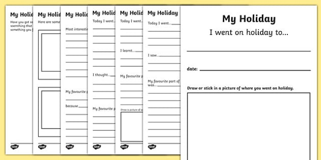 My Holiday Booklet - my holiday booklet, my holiday, holiday, holidays, vacation, beach, sun, family, booklet, trip, excursion, fun, activity, exciting, notes, experience, drawing, what have you seen