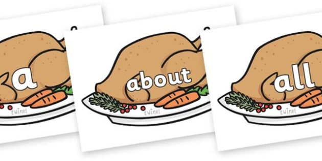 100 High Frequency Words on Christmas Turkeys - High frequency words, hfw, DfES Letters and Sounds, Letters and Sounds, display words