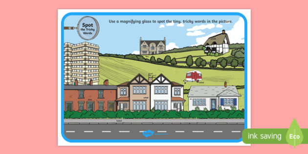 Phase 5 Tricky Words Houses and Homes Scene Magnifying Glass Poster