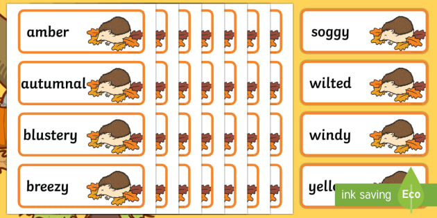 Autumn Words on Hedgehogs Word Cards