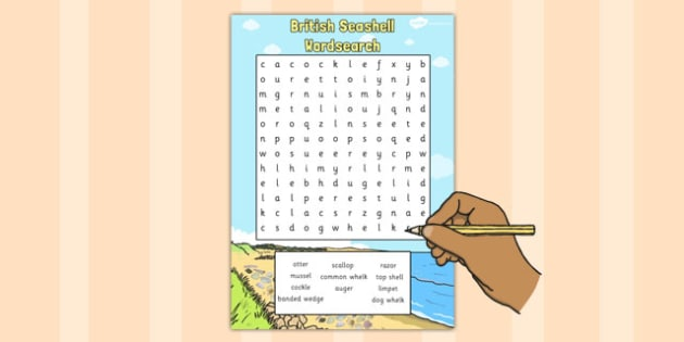 British Seashell Wordsearch - british, seashell, wordsearch