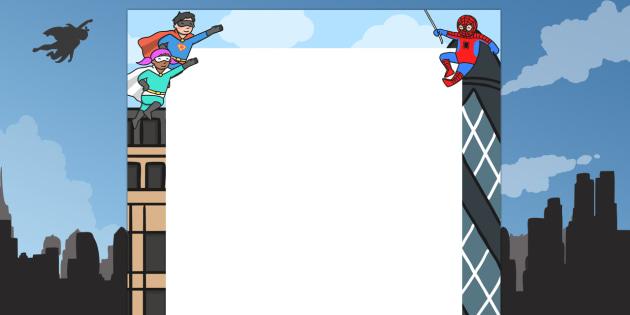 Superheroes Decorative Page Border - superheroes, page, border