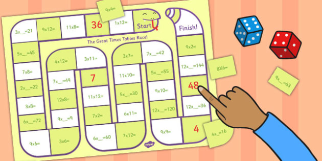 Self Checking Times Tables Board Game - times tables, board, game