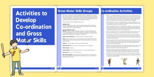 Co-ordination Gross Motor Skills Activities - gross motor skills