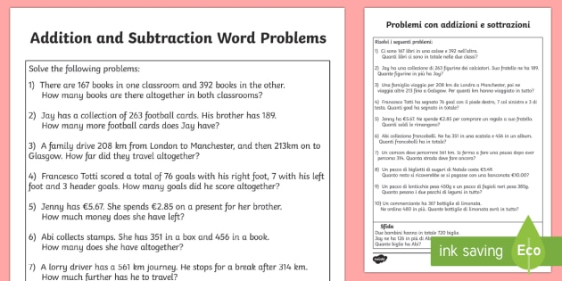 addition and subtraction word problems worksheet activity. Black Bedroom Furniture Sets. Home Design Ideas