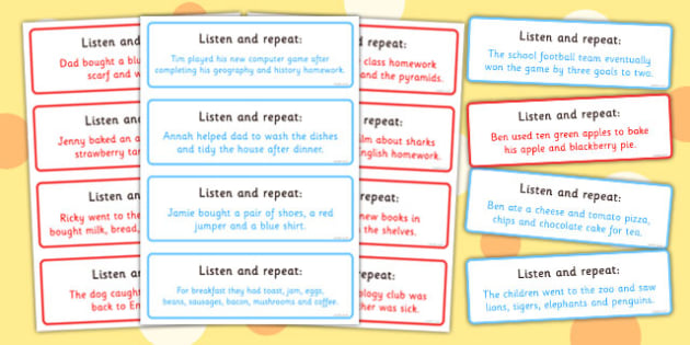 Listen and Repeat 12-13 Word Length Sentence Cards - literacy