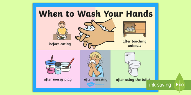 T M 1924 When To Wash Your Hands Poster on Kindergarten Curriculum