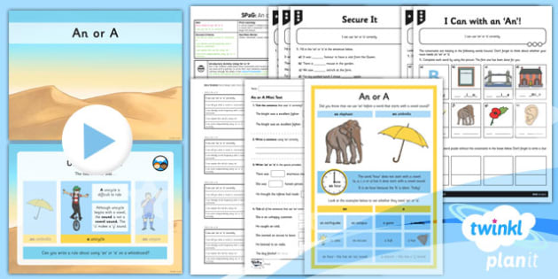 PlanIt Y3 SPaG Lesson Pack: An or A - planit, year 3, lesson pack, an, a