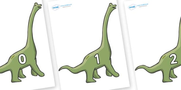 Numbers 0-50 on Brachiosaurus - 0-50, foundation stage numeracy, Number recognition, Number flashcards, counting, number frieze, Display numbers, number posters