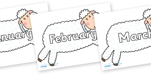 Months of the Year on Hullabaloo Sheep to Support Teaching on Farmyard Hullabaloo - Months of the Year, Months poster, Months display, display, poster, frieze, Months, month, January, February, March, April, May, June, July, August, September