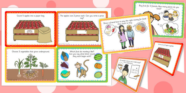 Fruit and Vegetable Shop Role Play Challenge Cards - challenge