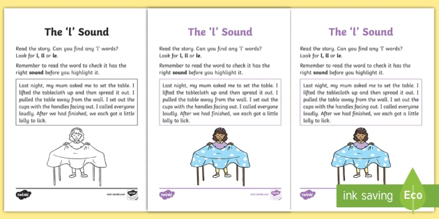 Northern Ireland Linguistic Phonics Stage 5 and 6 Phase 3a, 'l' Sound Activity Sheet - Linguistic Phonics, Phase 3a, Northern Ireland, 'l' sound, sound search, text, Worksheet