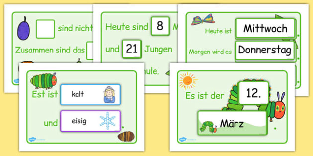The Very Hungry Caterpillar Themed Classroom Display Calendar German - german, the very hungry caterpillar, calendar, classroom display, display calendar, display