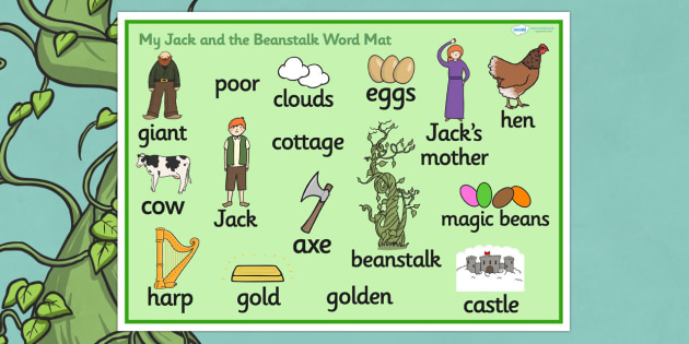 Jack and the Beanstalk Word Mat - Jack and the Beanstalk, word mat, writing aid, traditional tales, tale, fairy tale, Jack, giant, beanstalk, beans, golden egg, axe, castle, sky
