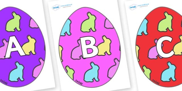 A-Z Alphabet on Easter Eggs (Rabbits) - A-Z, A4, display, Alphabet frieze, Display letters, Letter posters, A-Z letters, Alphabet flashcards