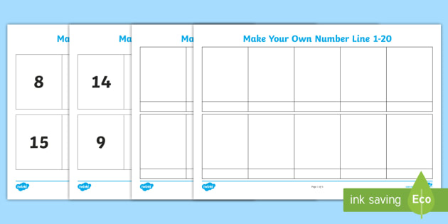 Make Your Own Number Line 1 20 Worksheet / Activity Sheet - Make Your Own Number Line 1-20 Worksheet / Activity Sheet - make, own, number line, resource, pack, numberline,