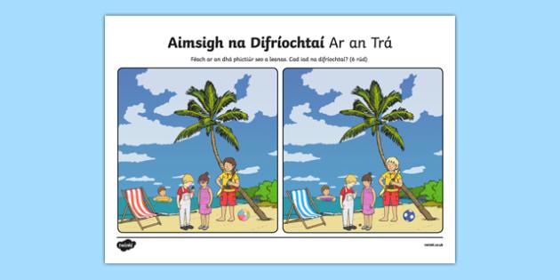 Ar an Trá, Aimsigh na Difríochtaí Worksheet / Activity Sheet - Irish, worksheet