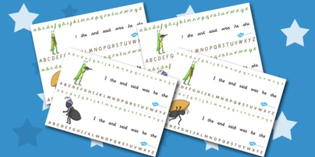The Ant and the Grasshopper Alphabet Strips - Ant, Grasshopper