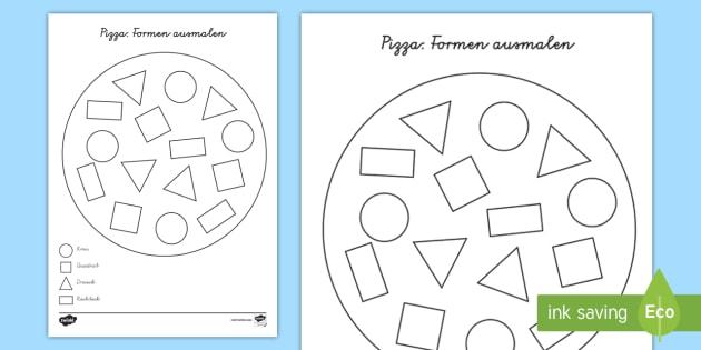 pizza formen ausmalen arbeitsblatt geometrie mathe malen. Black Bedroom Furniture Sets. Home Design Ideas