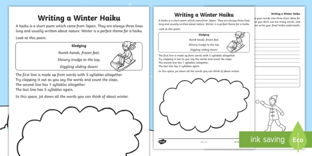 KS1 Writing Your Own Winter Haiku Worksheet / Activity Sheet
