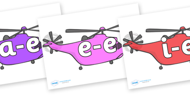 Modifying E Letters on Helicopter - Modifying E, letters, modify, Phase 5, Phase five, alternative spellings for phonemes, DfES letters and Sounds