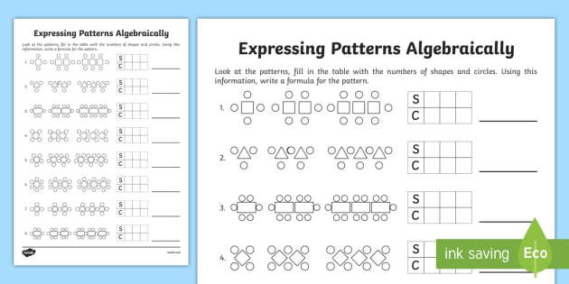 expressing patterns algebraically worksheet worksheet