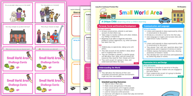 Small World Area Continuous Provision Plan Poster and Challenge Cards Pack Reception FS2