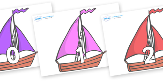 Numbers 0-50 on Sailing Boats to Support Teaching on Where the Wild Things Are - 0-50, foundation stage numeracy, Number recognition, Number flashcards, counting, number frieze, Display numbers, number posters
