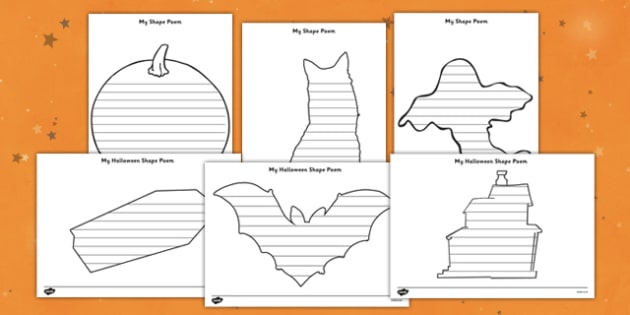 Halloween Shape Poetry Templates - halloween, shape poetry templates, poetry, poetry template, poem, halloween worksheet, halloween poems, writing templates