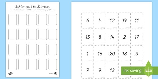 Zahlen von 1 bis 20 ordnen Arbeitsblatt - Mathe, Stellenwert