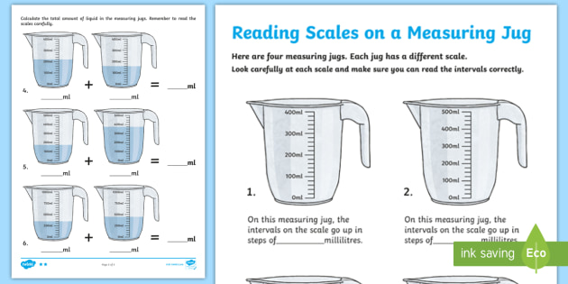 KS2 Maths Reading Scales on a Measuring Jug Differentiated ...